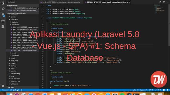 Aplikasi Laundry (Laravel 5.8 - Vue.js - SPA) #1: Schema Database