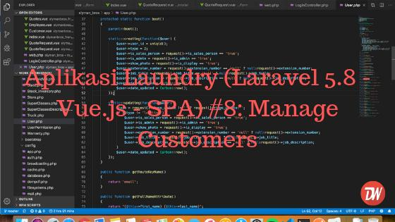 Aplikasi Laundry (Laravel 5.8 - Vue.js - SPA) #8: Manage Customers