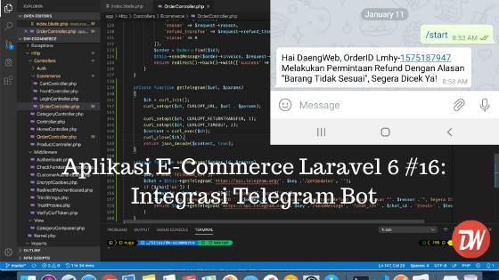 Aplikasi E-Commerce Laravel 6 #16: Integrasi Telegram Bot