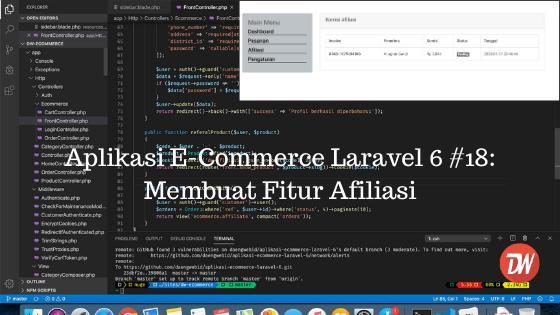 Aplikasi E-Commerce Laravel 6 #18: Membuat Fitur Afiliasi