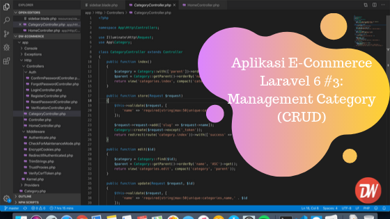 Aplikasi E-Commerce Laravel 6 #3: Management Category (CRUD)