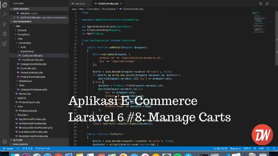 Aplikasi E-Commerce Laravel 6 #8: Manage Carts