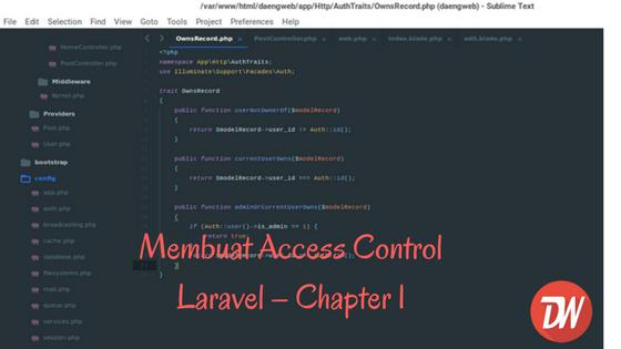 Membuat Access Control Laravel – Chapter 1