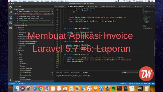 Membuat Aplikasi Invoice Laravel 5.7 #6: Laporan