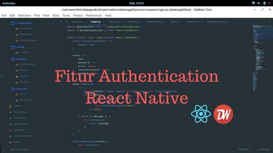 Fitur Authentication React Native