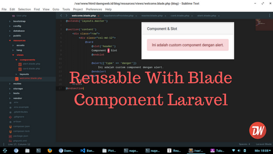 Reusable With Blade Component Laravel