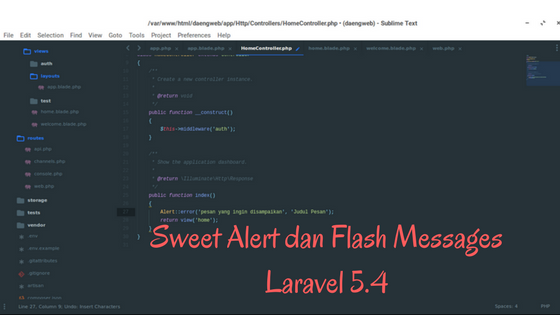 Sweet Alert dan Flash Messages Laravel 5.4