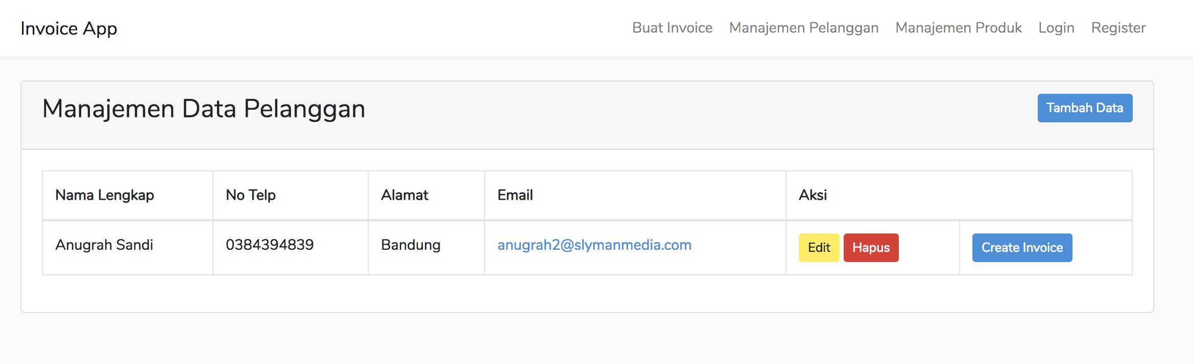 create invoice from customer page - laravel invoice