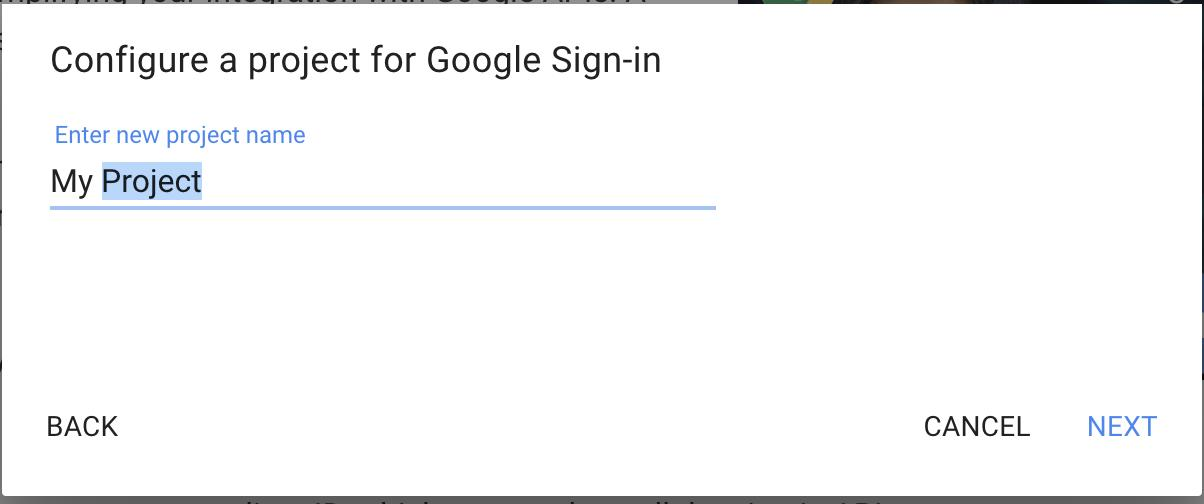 create new project google sign-in