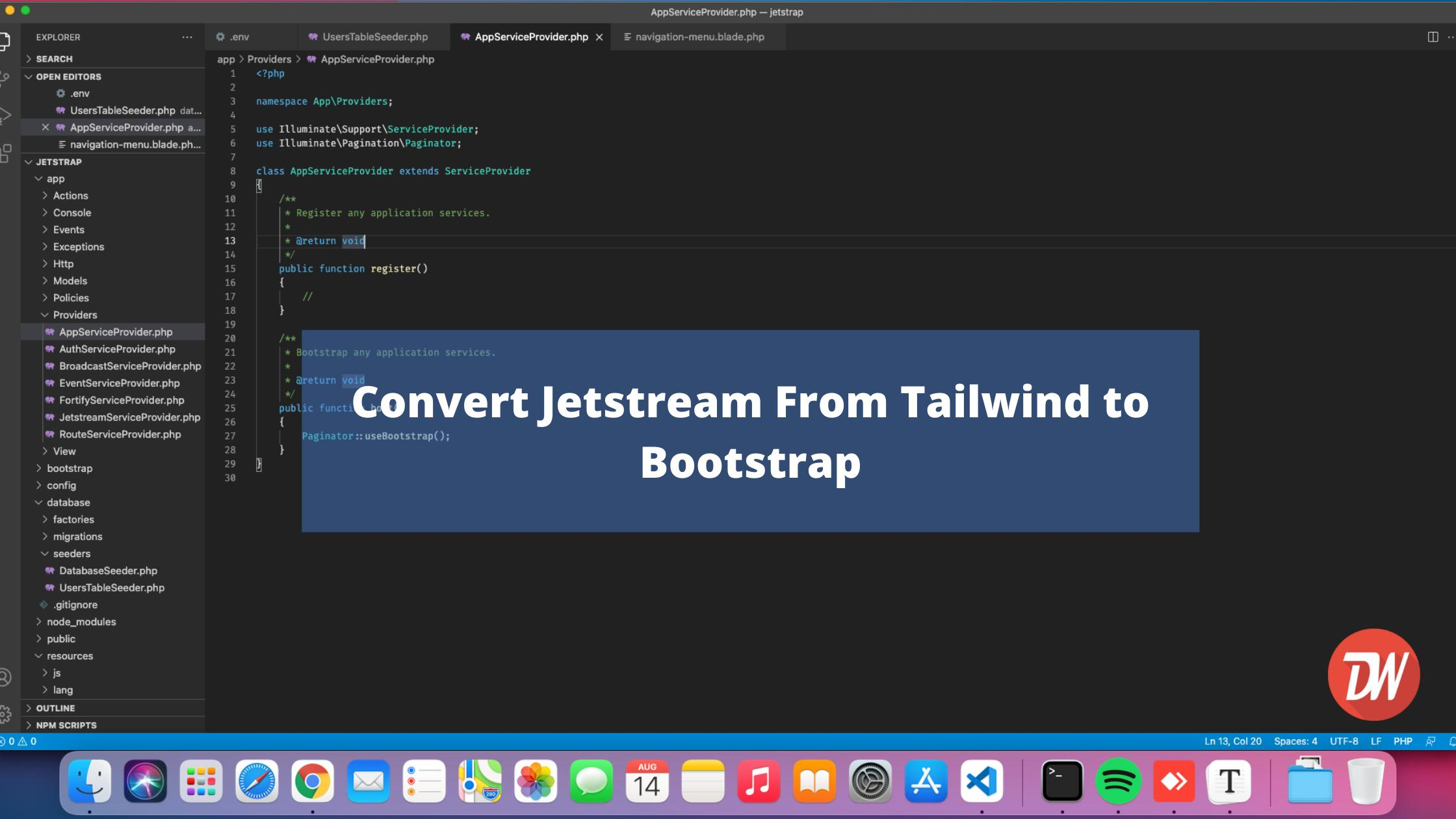 Convert Jetstream From Tailwind to Bootstrap