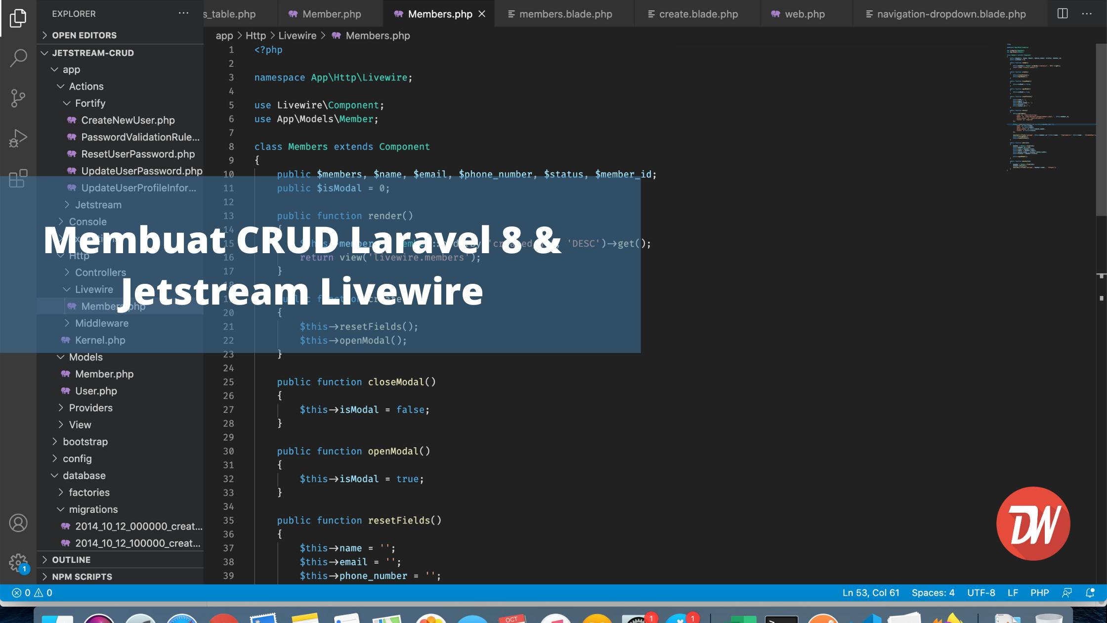 Membuat CRUD Laravel 8 & Jetstream Livewire