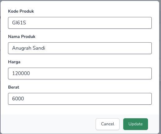 CRUD Laravel 8 dan InertiaJs - edit data