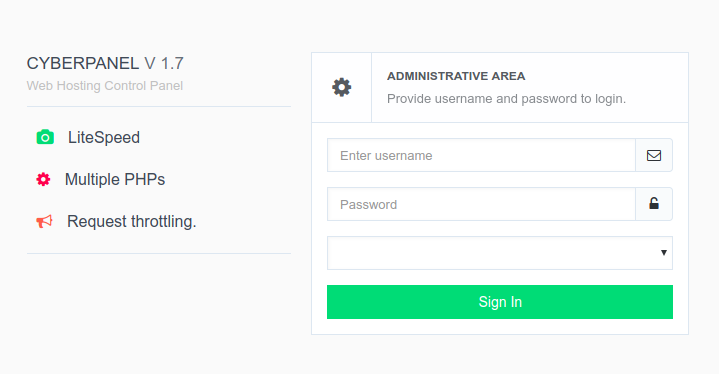 dashboard login cyberpanel
